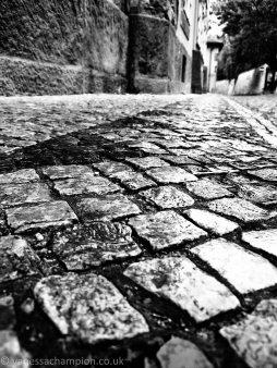 Prague street detail in the rain