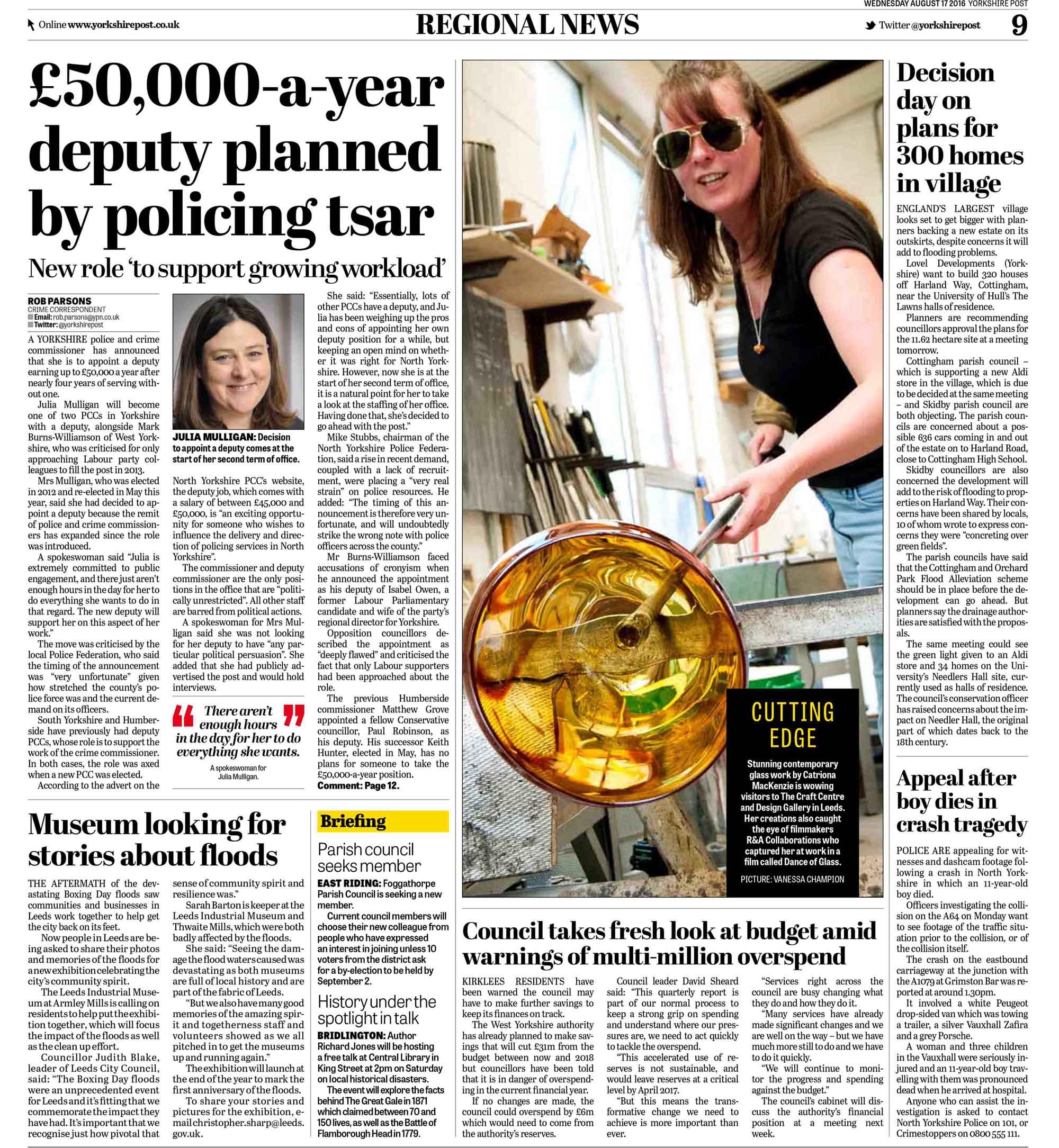 Glassblower Cat McKenzie Yorkshire Post August 2016